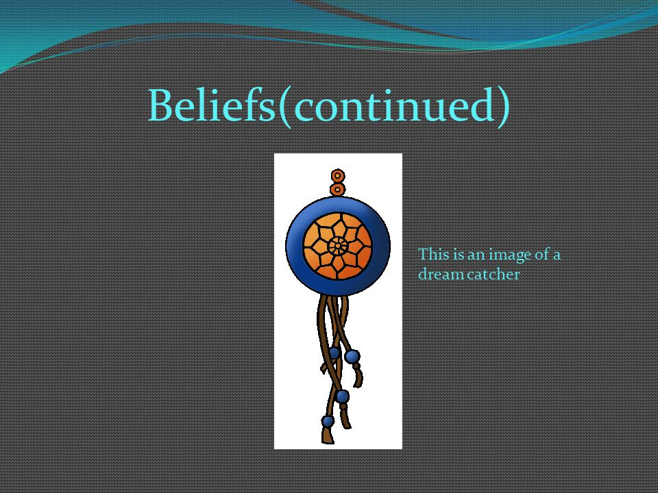 Beliefs(continued) This is an image of a dream catcher