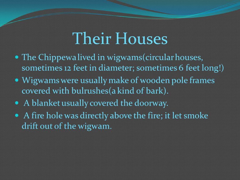 Their Houses The Chippewa lived in wigwams(circular houses, sometimes 12 feet in diameter; sometimes 6 feet long!)