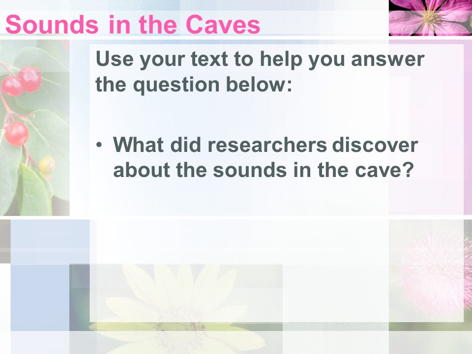 Sounds in the Caves Use your text to help you answer the question below: What did researchers discover about the sounds in the cave