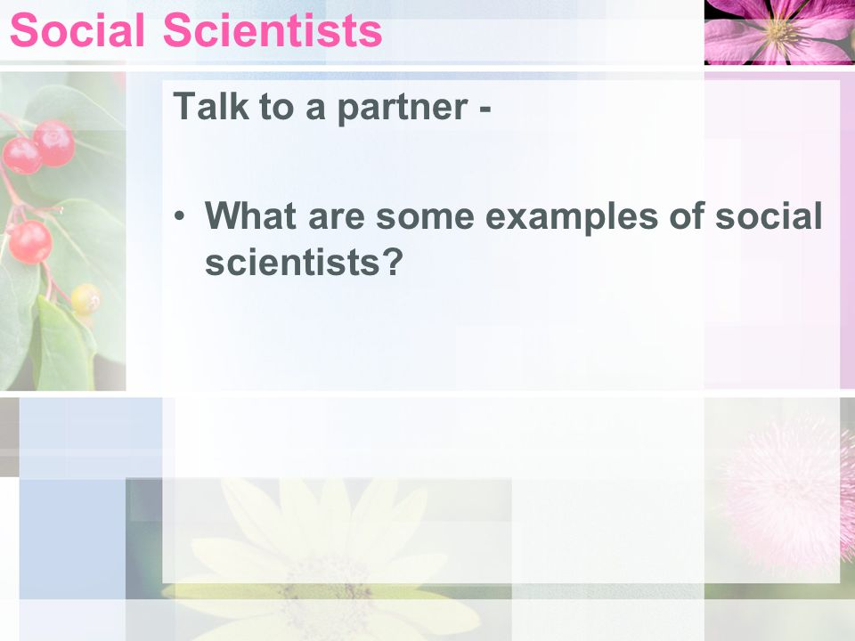 Social Scientists Talk to a partner -