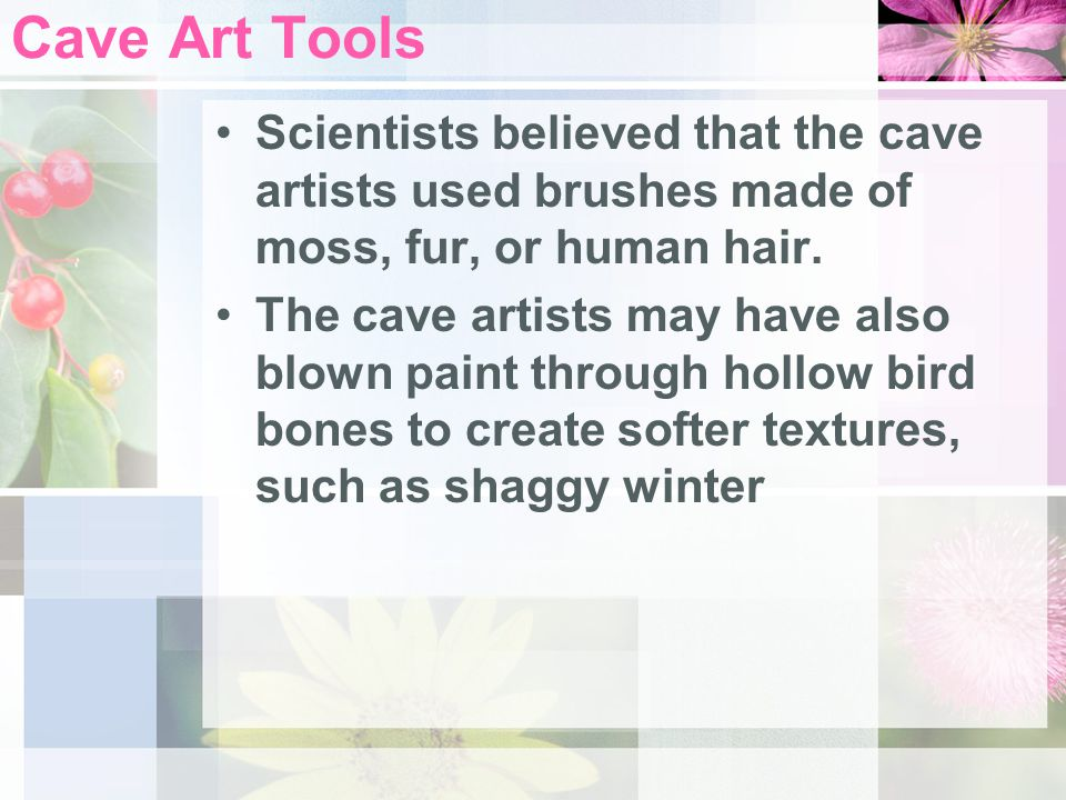 Cave Art Tools Scientists believed that the cave artists used brushes made of moss, fur, or human hair.