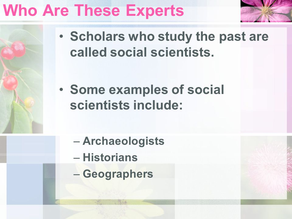 Who Are These Experts Scholars who study the past are called social scientists. Some examples of social scientists include: