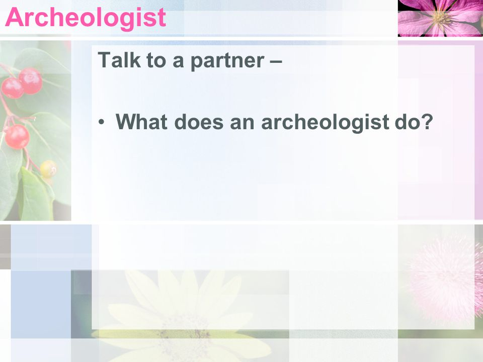 Archeologist Talk to a partner – What does an archeologist do
