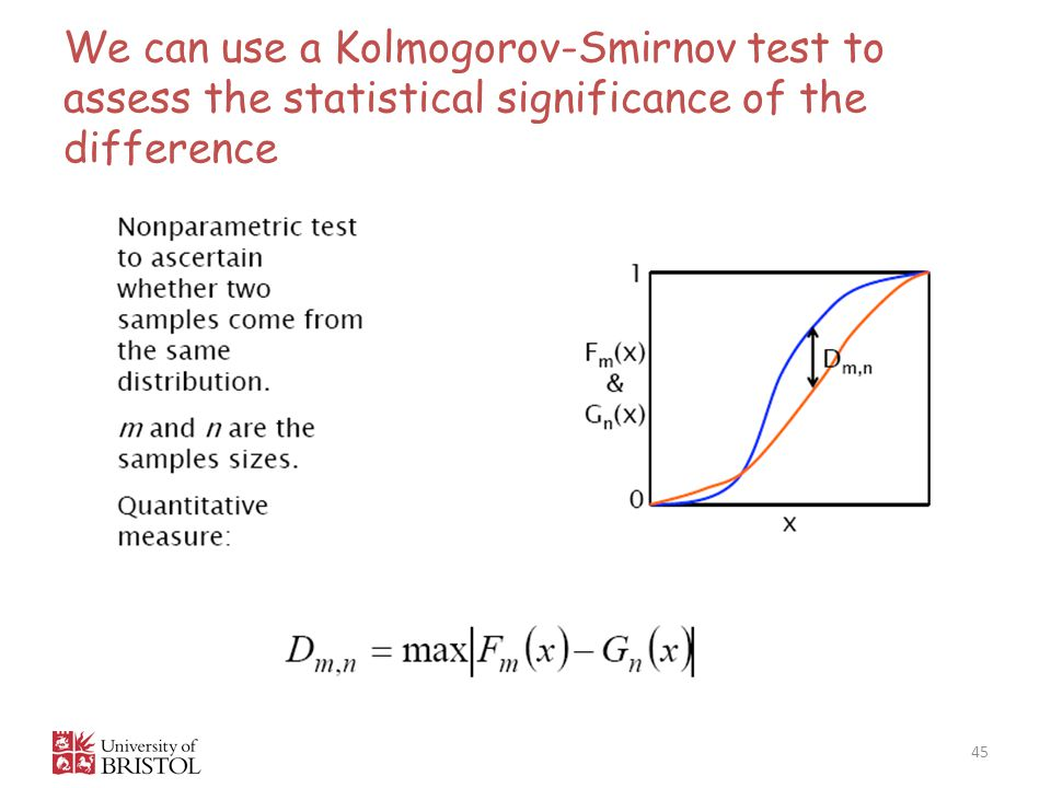 We can use a Kolmogorov-Smirnov test to assess the statistical significance of the difference