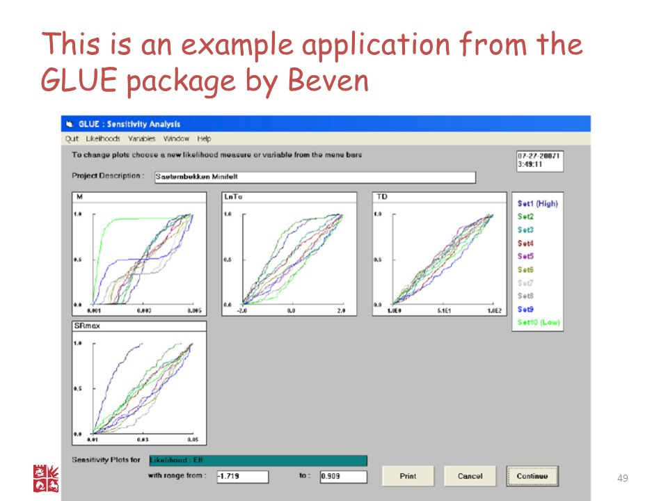 This is an example application from the GLUE package by Beven