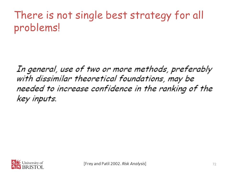 There is not single best strategy for all problems!