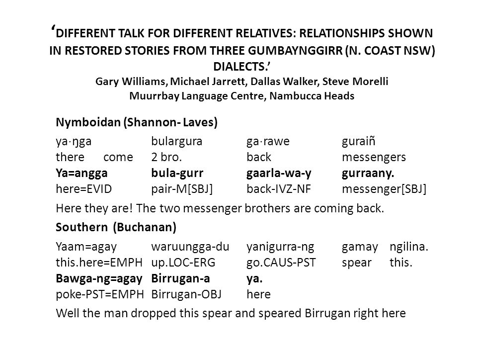 'DIFFERENT TALK FOR DIFFERENT RELATIVES: RELATIONSHIPS SHOWN IN RESTORED STORIES FROM THREE GUMBAYNGGIRR (N. COAST NSW) DIALECTS.' Gary Williams, Michael Jarrett, Dallas Walker, Steve Morelli Muurrbay Language Centre, Nambucca Heads