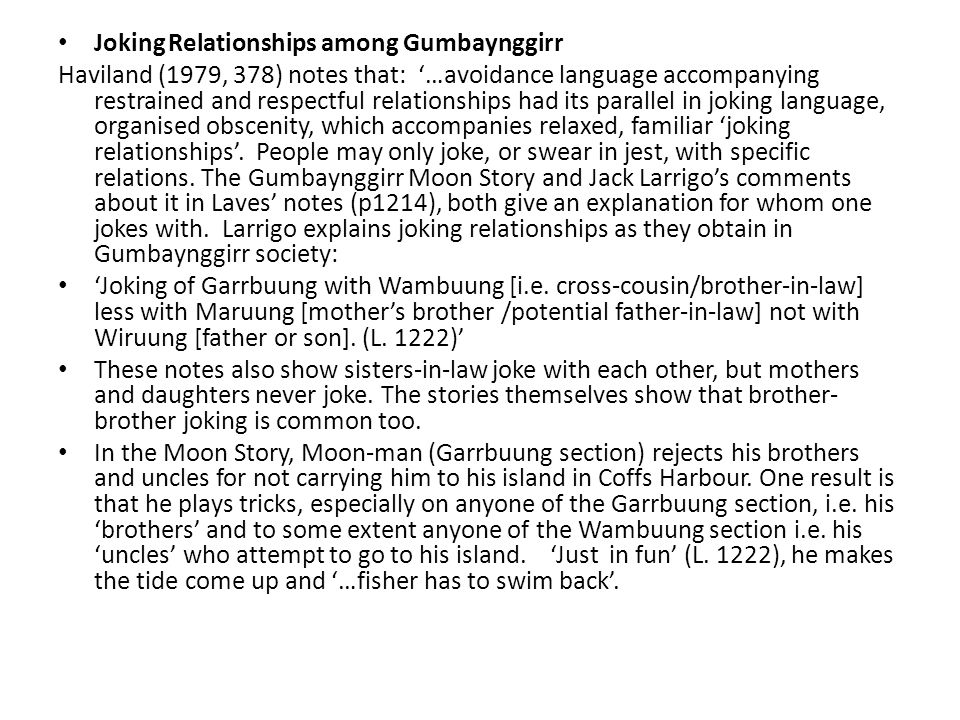 Joking Relationships among Gumbaynggirr