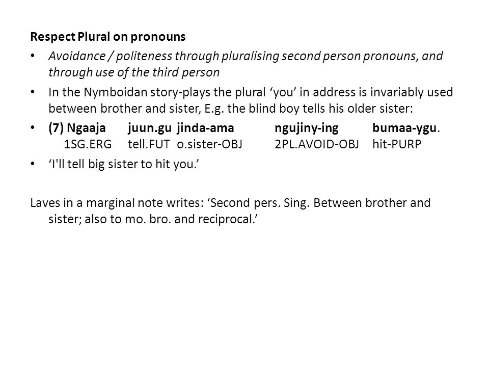 Respect Plural on pronouns