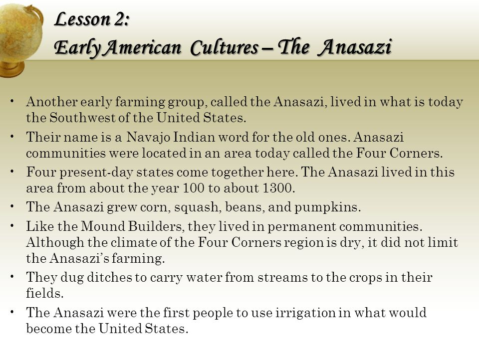 Lesson 2: Early American Cultures – The Anasazi