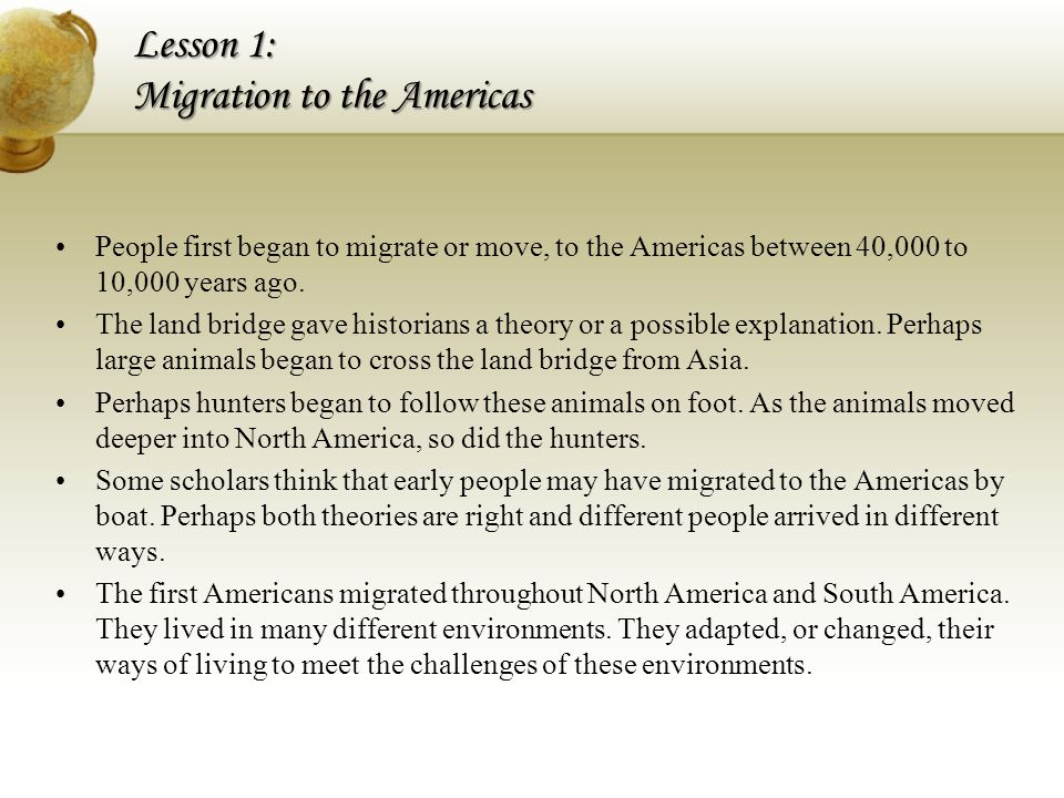 Lesson 1: Migration to the Americas