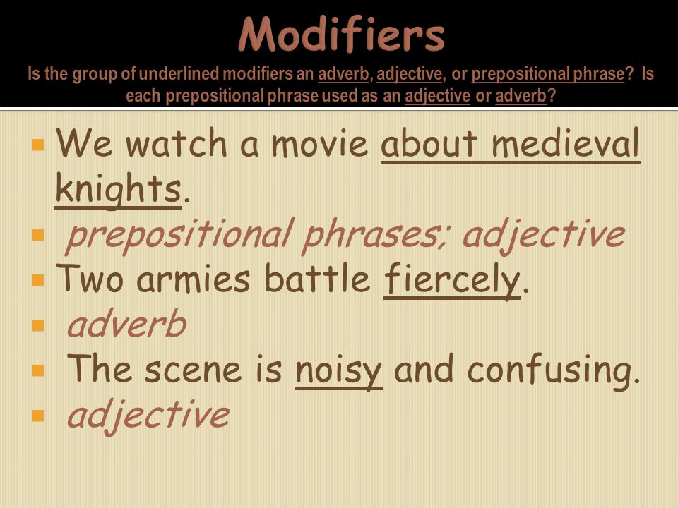 Modifiers Is the group of underlined modifiers an adverb, adjective, or prepositional phrase Is each prepositional phrase used as an adjective or adverb