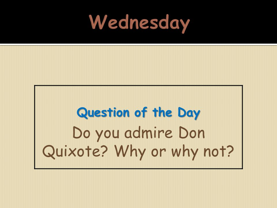 Do you admire Don Quixote Why or why not