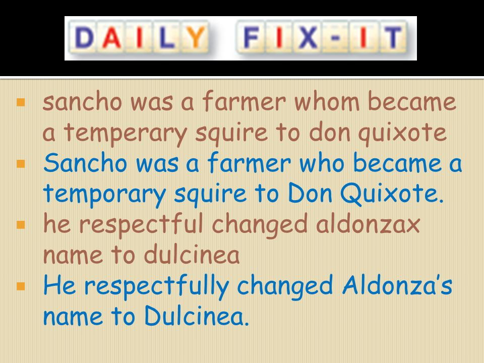 sancho was a farmer whom became a temperary squire to don quixote