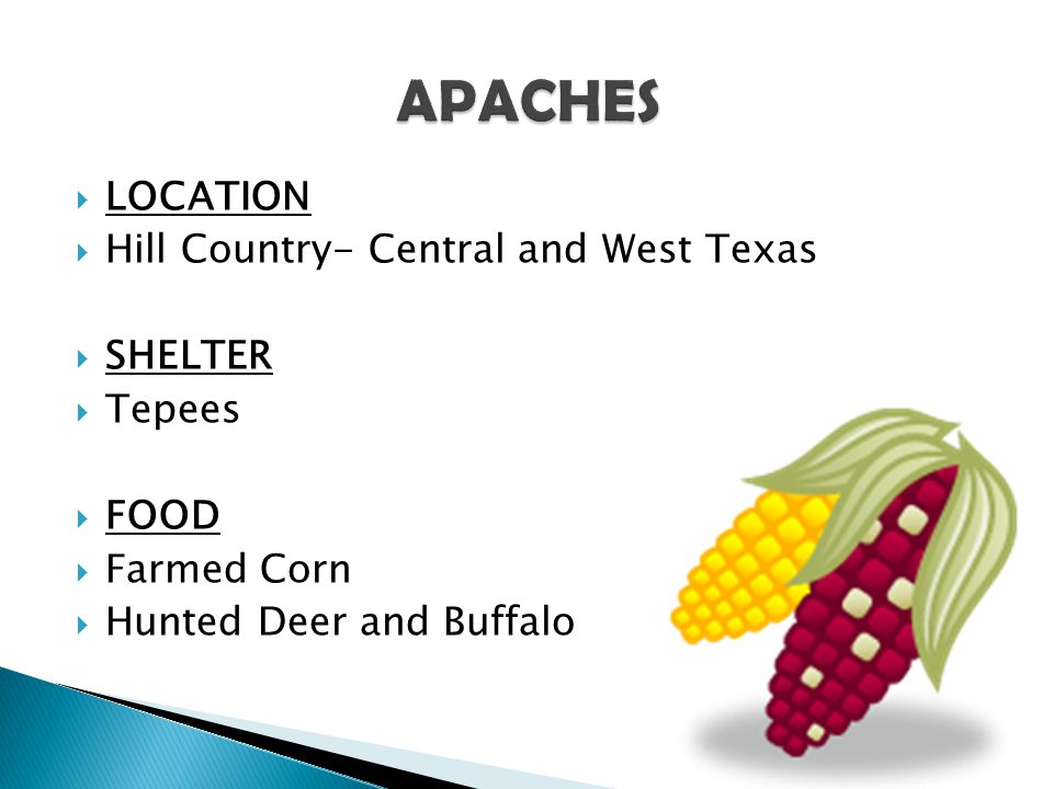 APACHES LOCATION Hill Country- Central and West Texas SHELTER Tepees