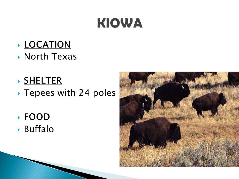 KIOWA LOCATION North Texas SHELTER Tepees with 24 poles FOOD Buffalo