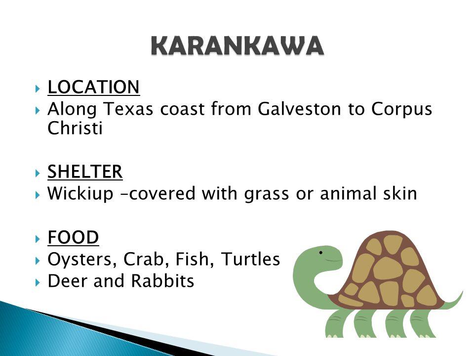 KARANKAWA LOCATION Along Texas coast from Galveston to Corpus Christi