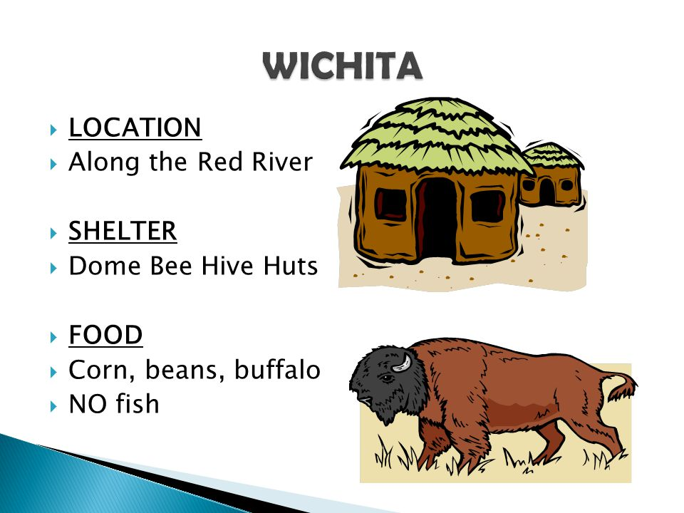 WICHITA LOCATION Along the Red River SHELTER Dome Bee Hive Huts FOOD