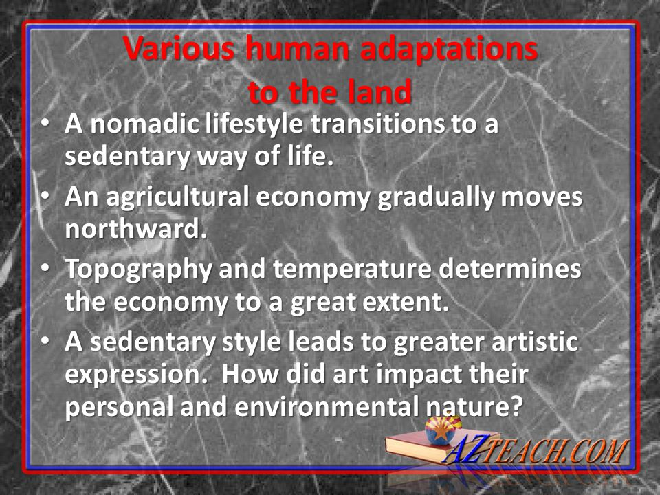 Various human adaptations to the land