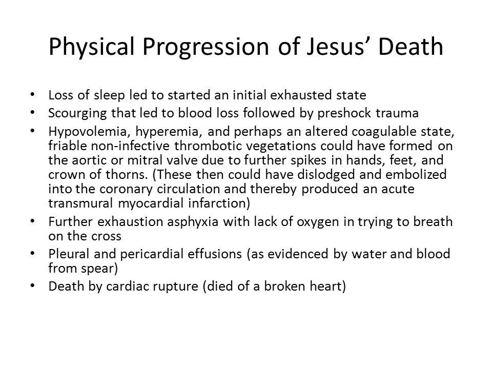 Physical Progression of Jesus' Death