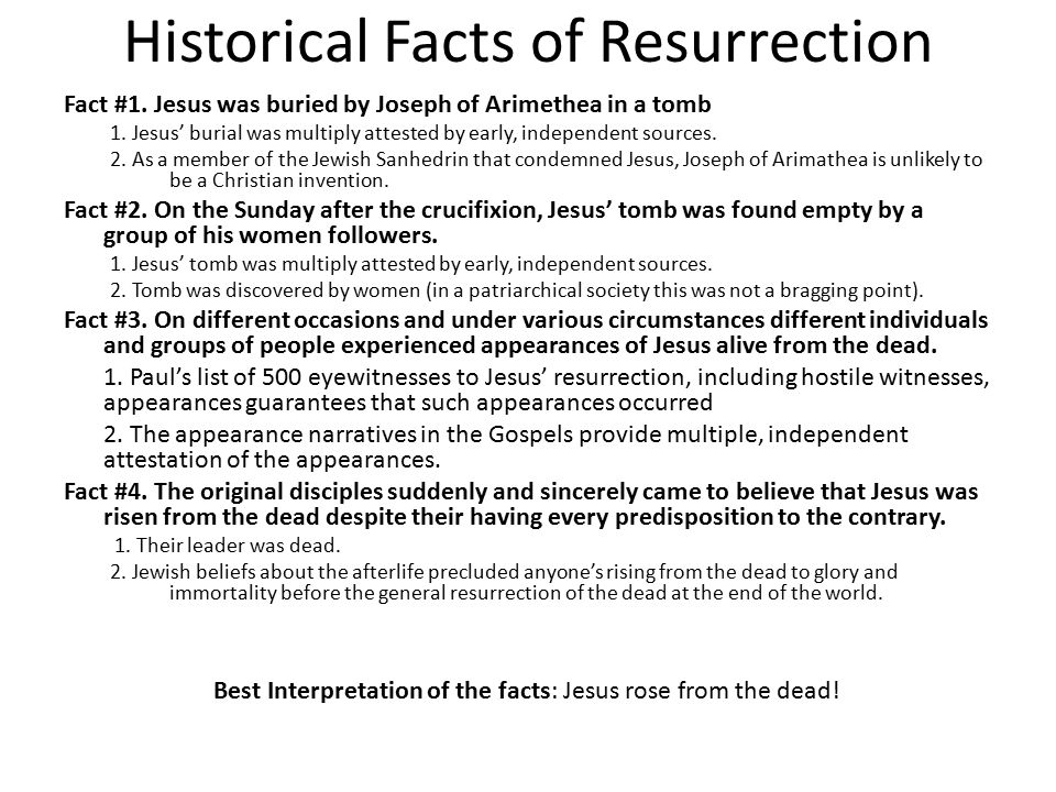 Historical Facts of Resurrection