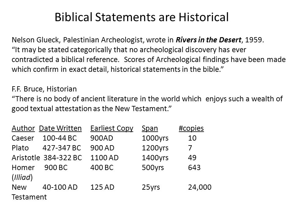 Biblical Statements are Historical