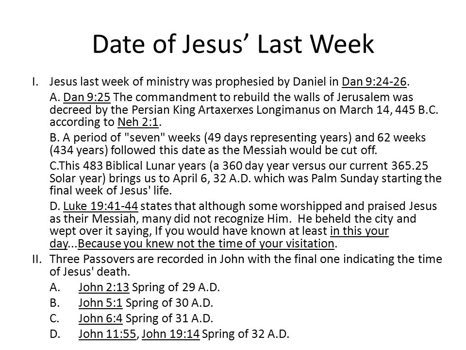 Date of Jesus' Last Week