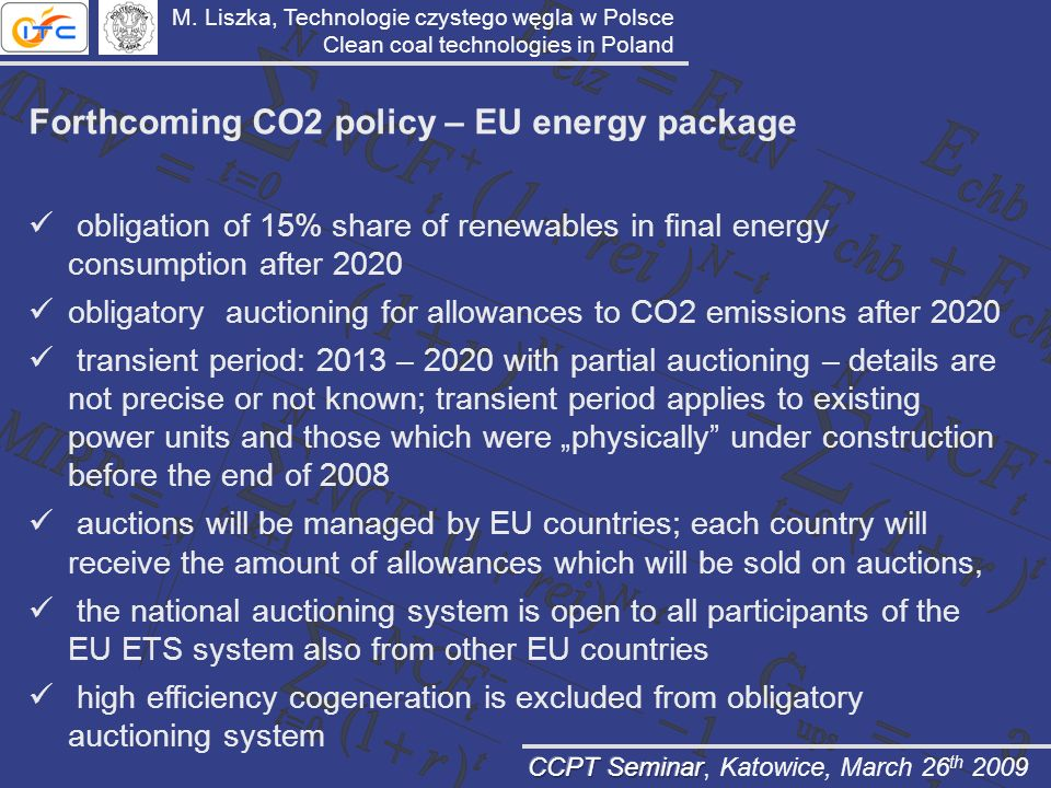 Forthcoming CO2 policy – EU energy package