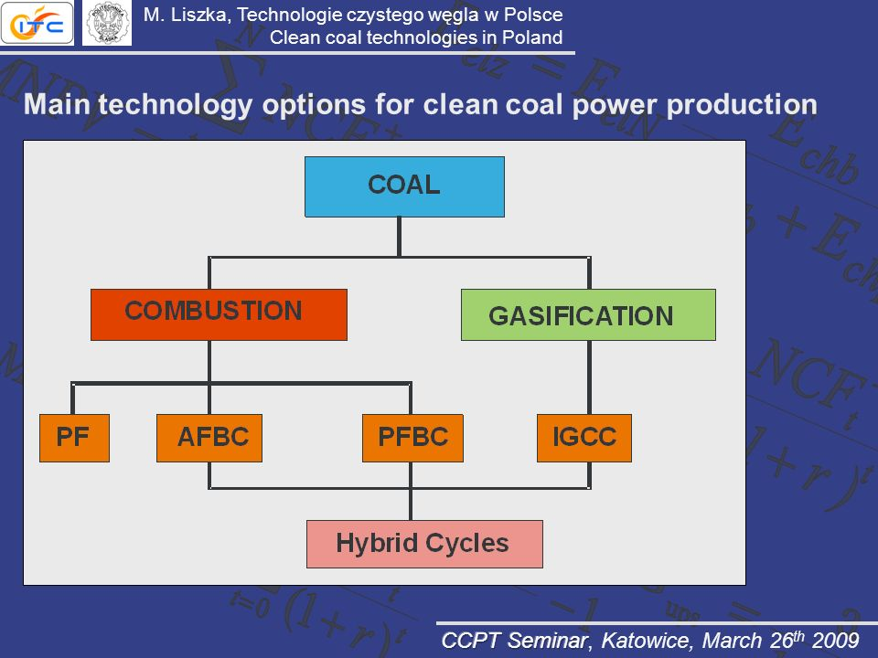 Main technology options for clean coal power production