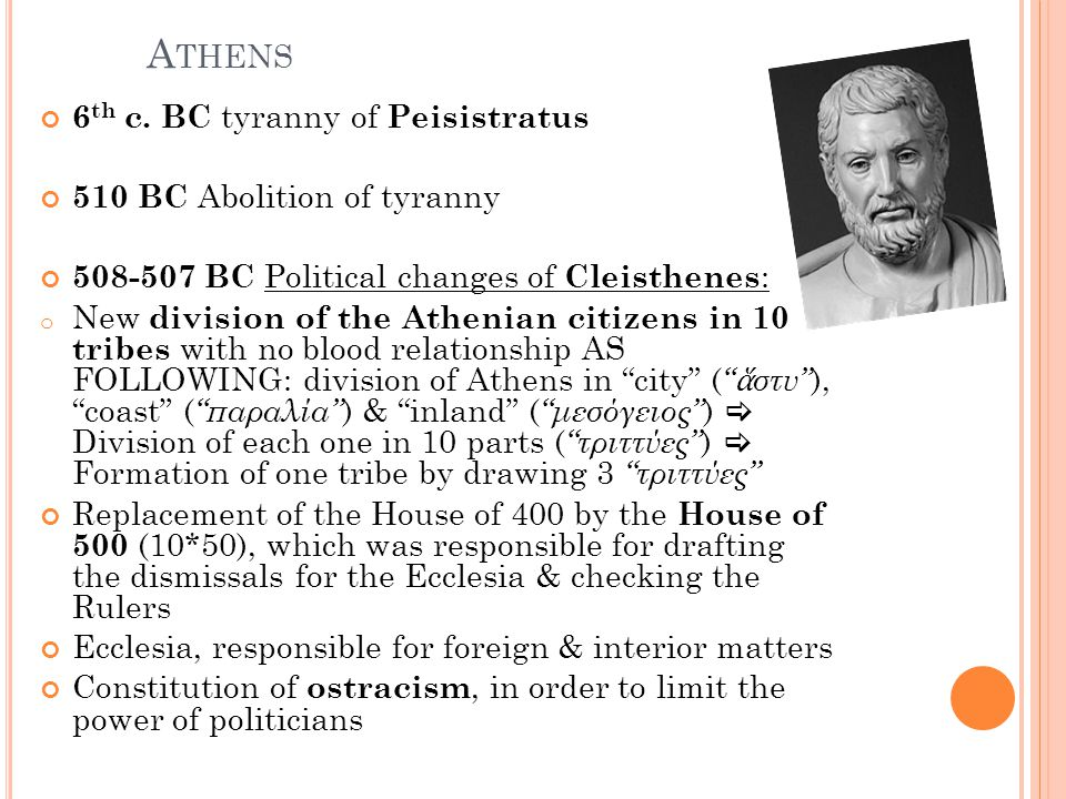 Athens 6th c. BC tyranny of Peisistratus 510 BC Abolition of tyranny