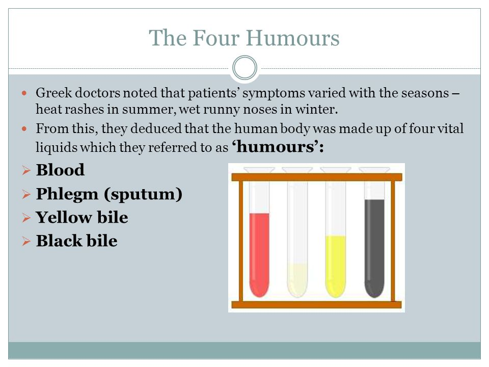 The Four Humours Blood Phlegm (sputum) Yellow bile Black bile