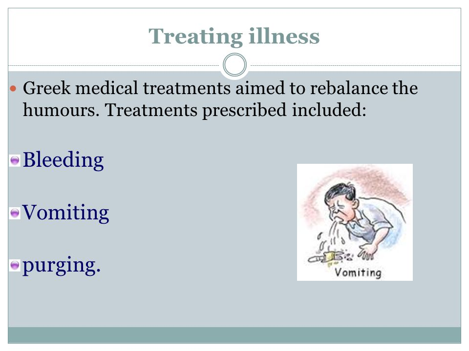 Treating illness Bleeding Vomiting purging.