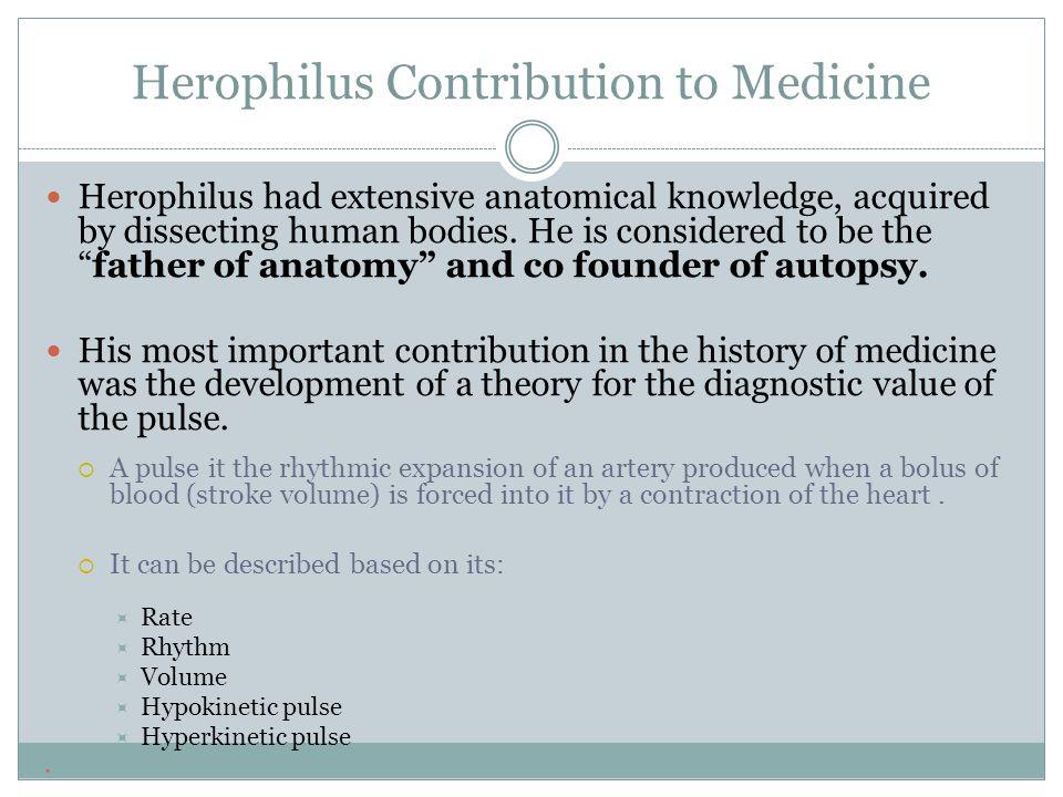 Herophilus Contribution to Medicine