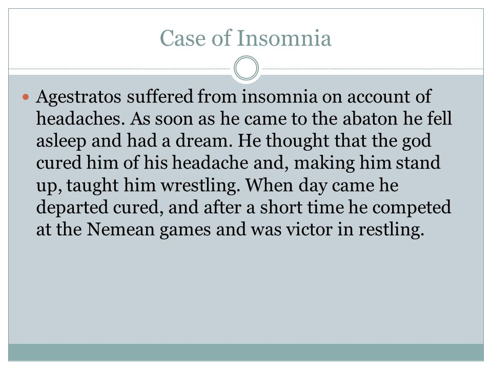 Case of Insomnia