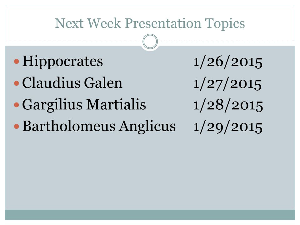 Next Week Presentation Topics