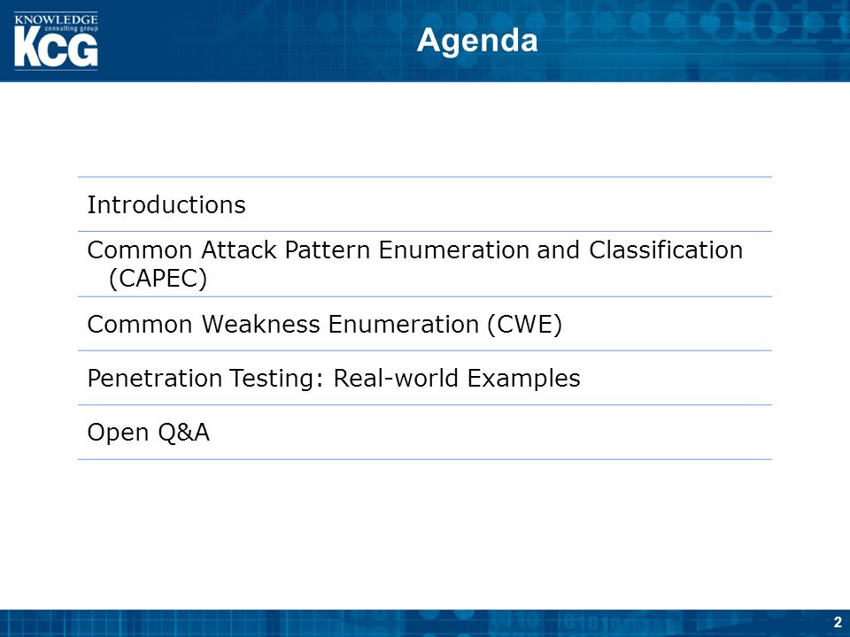 Agenda Introductions. Common Attack Pattern Enumeration and Classification (CAPEC) Common Weakness Enumeration (CWE)