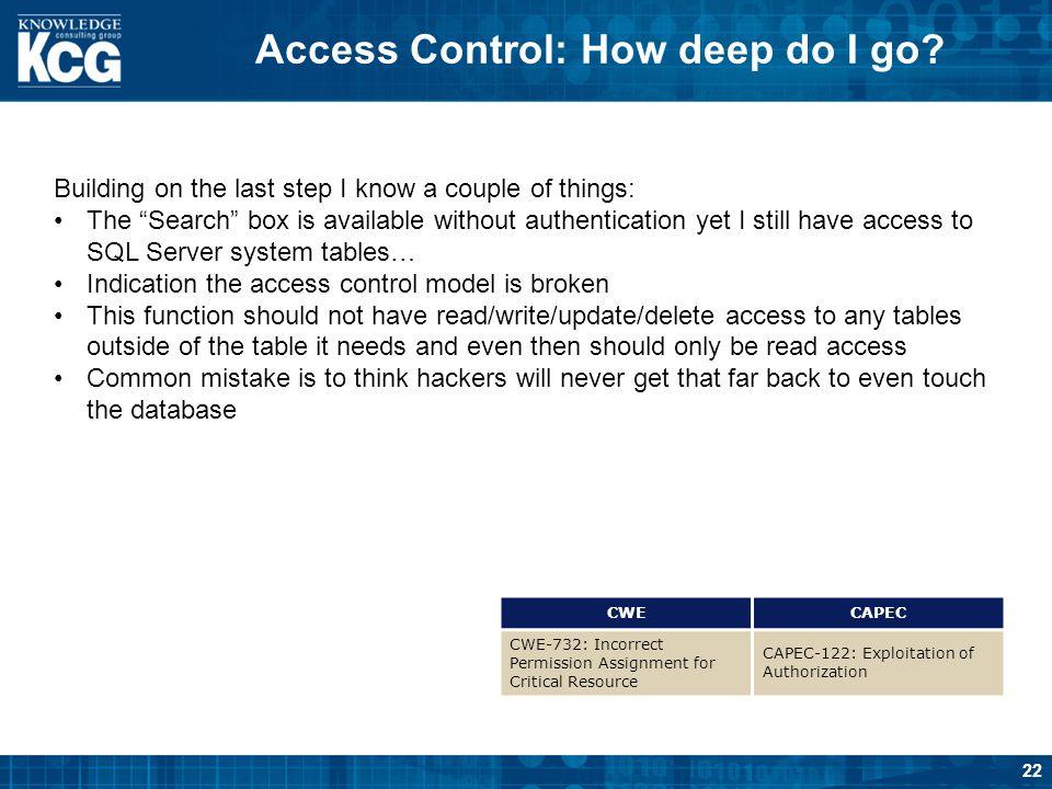Access Control: How deep do I go