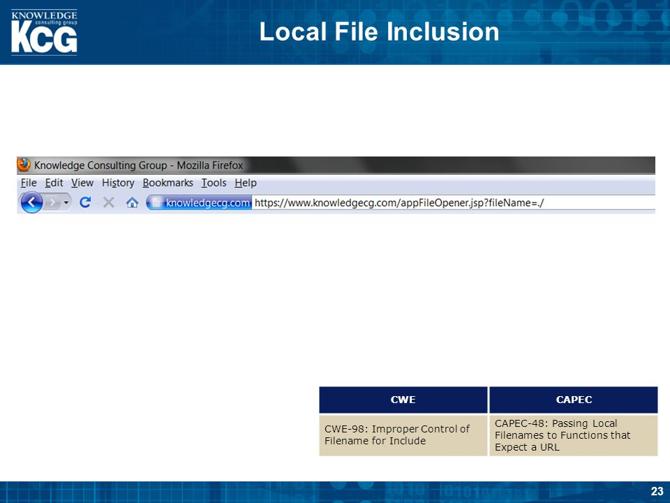 Local File Inclusion CWE CAPEC
