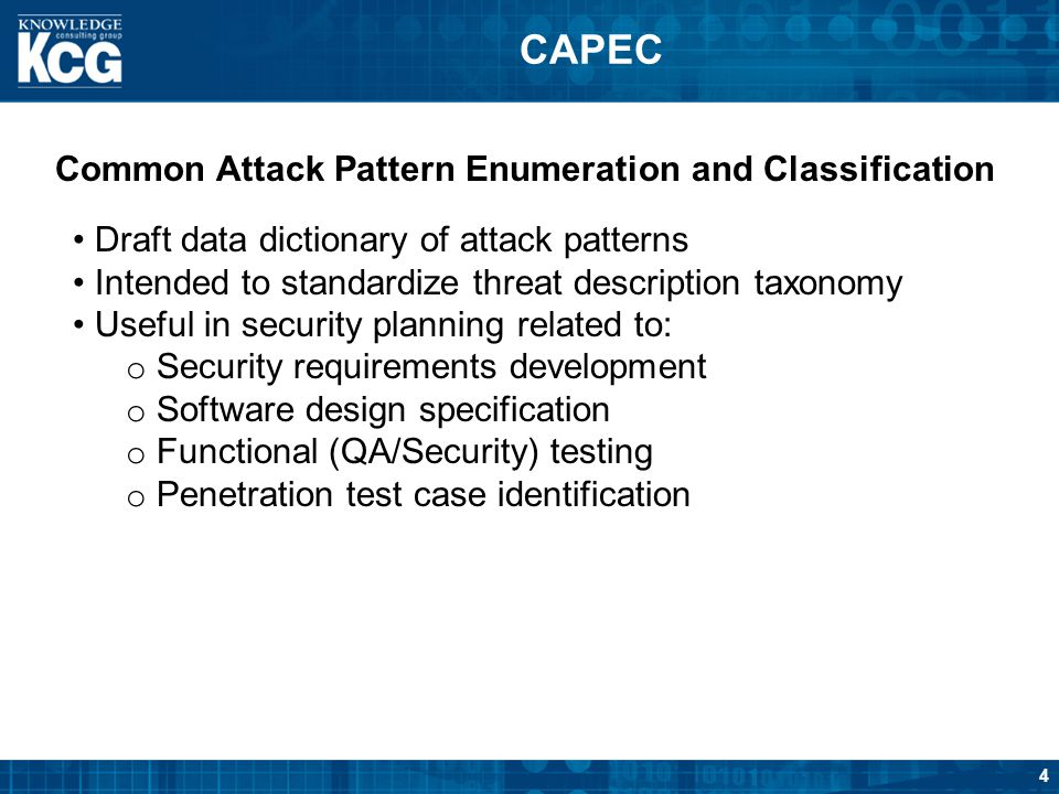 CAPEC Common Attack Pattern Enumeration and Classification