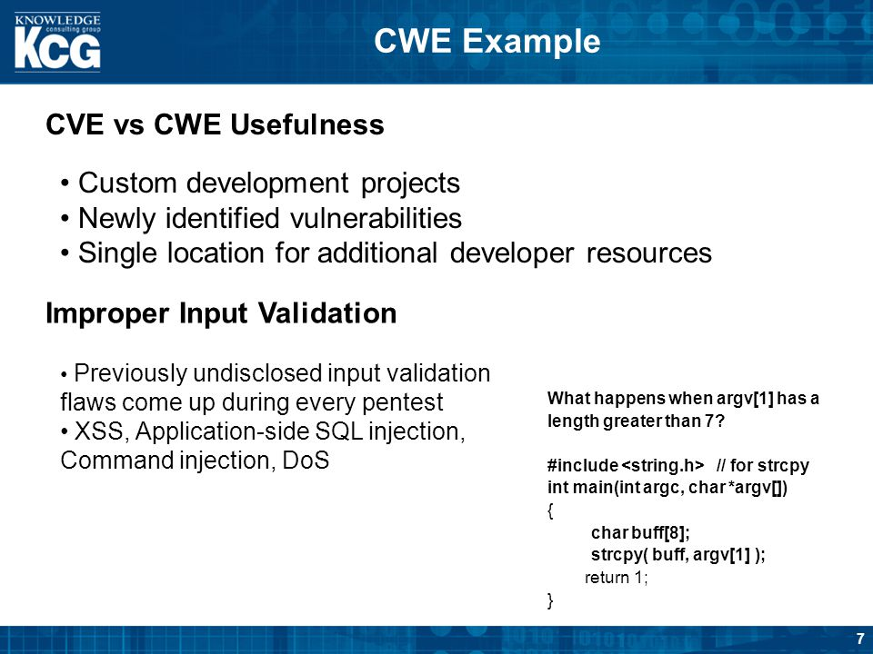 CWE Example CVE vs CWE Usefulness Custom development projects