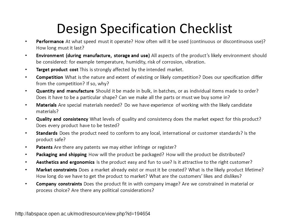 Chapter 6 product specifications ppt video online download for Database design specification template