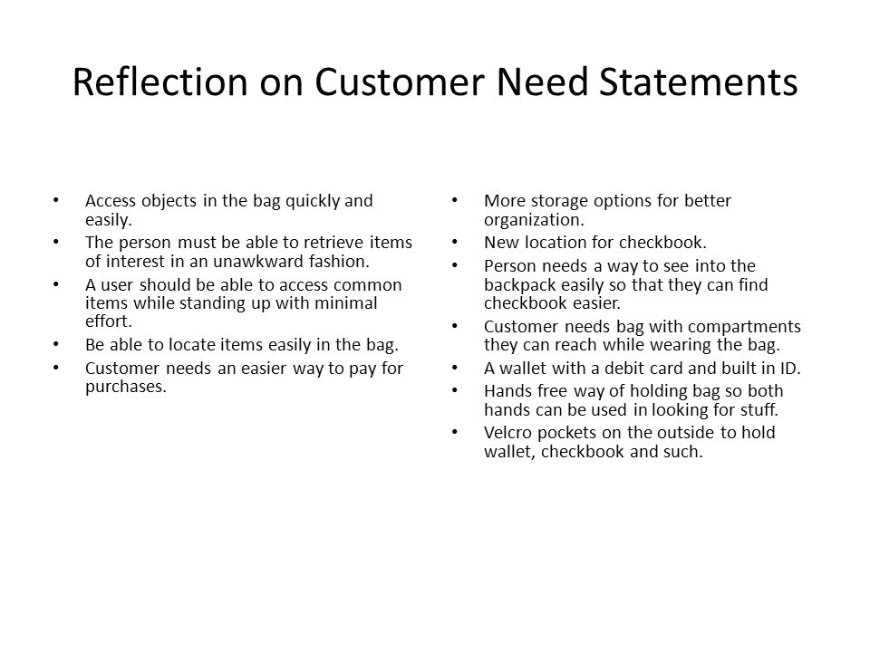 Reflection on Customer Need Statements