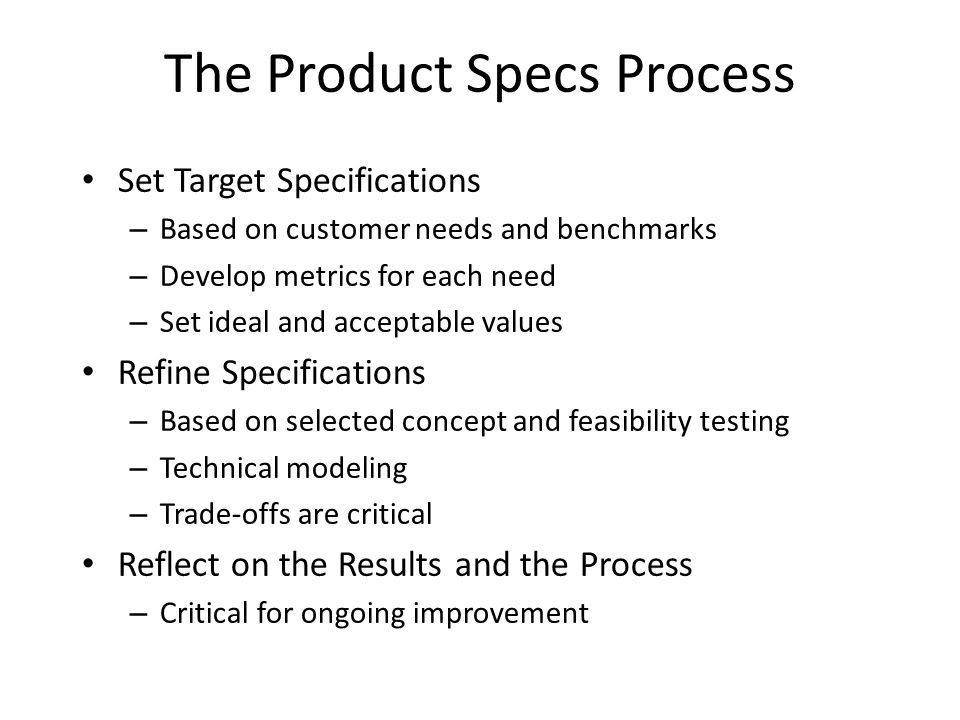The Product Specs Process