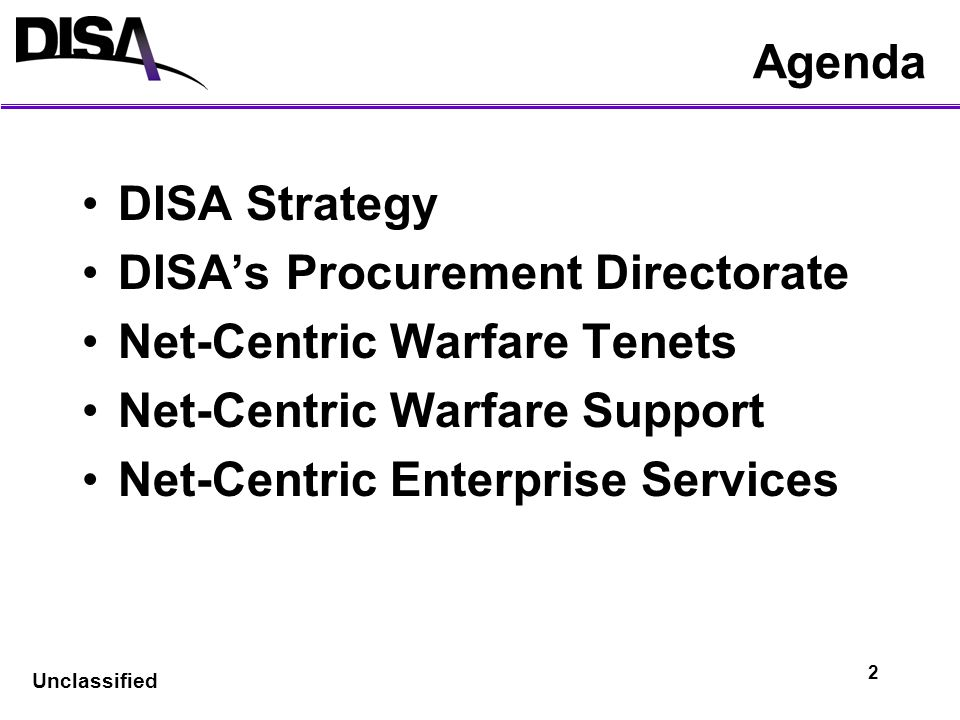 DISA's Procurement Directorate Net-Centric Warfare Tenets