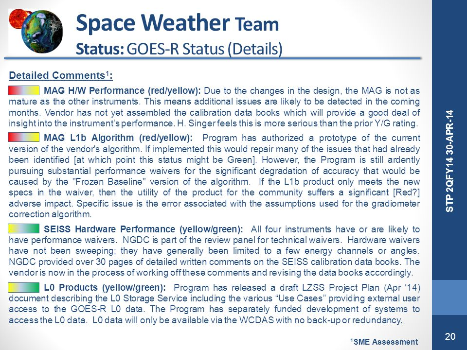 Space Weather Team Status: GOES-R Status (Details) Detailed Comments1:
