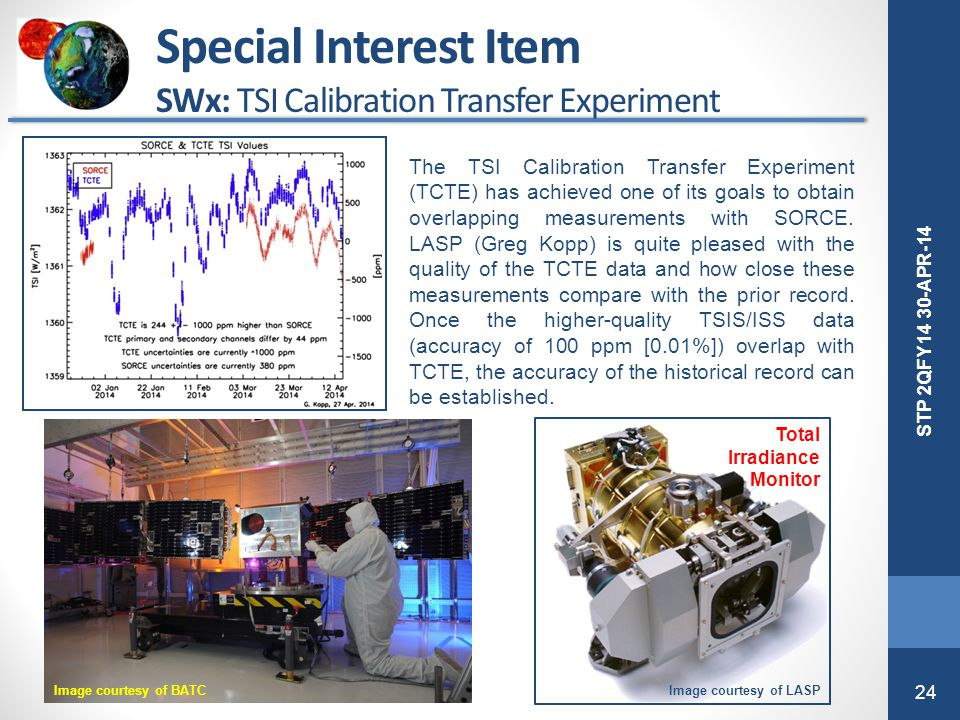 Special Interest Item SWx: TSI Calibration Transfer Experiment