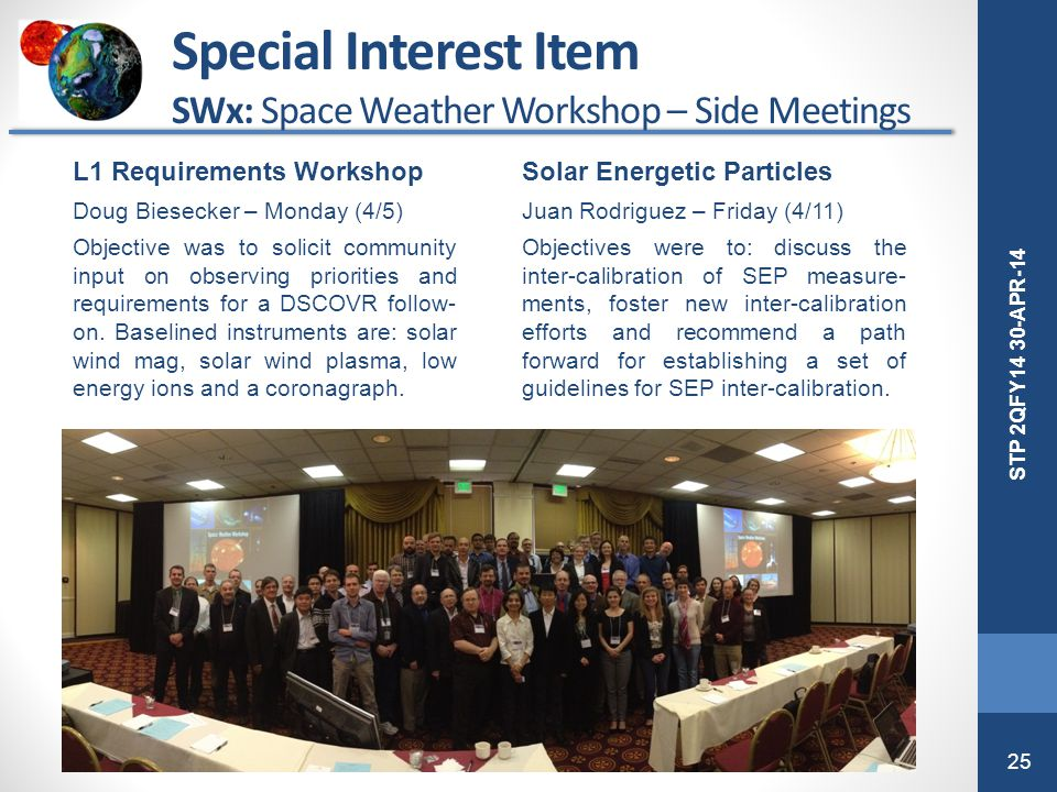 Special Interest Item SWx: Space Weather Workshop – Side Meetings