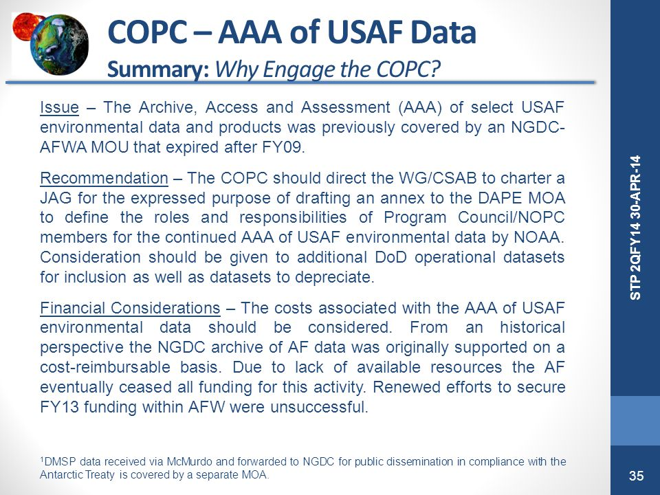 COPC – AAA of USAF Data Summary: Why Engage the COPC