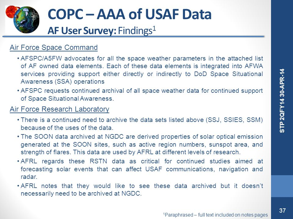 COPC – AAA of USAF Data AF User Survey: Findings1