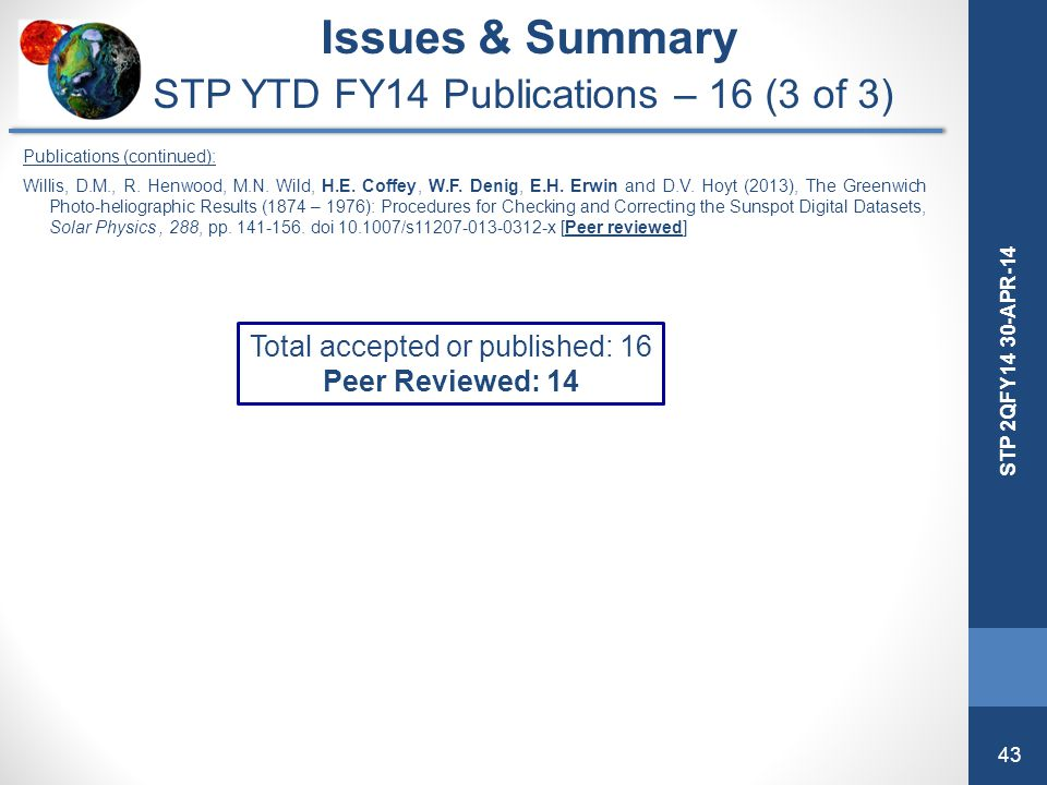 Issues & Summary STP YTD FY14 Publications – 16 (3 of 3)